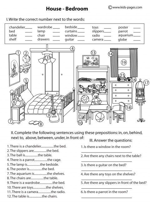 Good picture for prepositions activities spanish for Furniture quiz questions