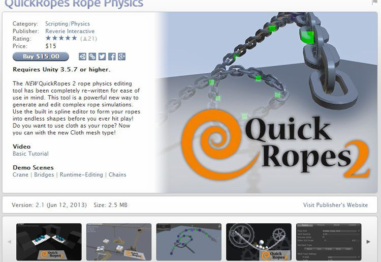 QuickRopes Rope Physics Unity Asset Store Unreal Engine Unity Games