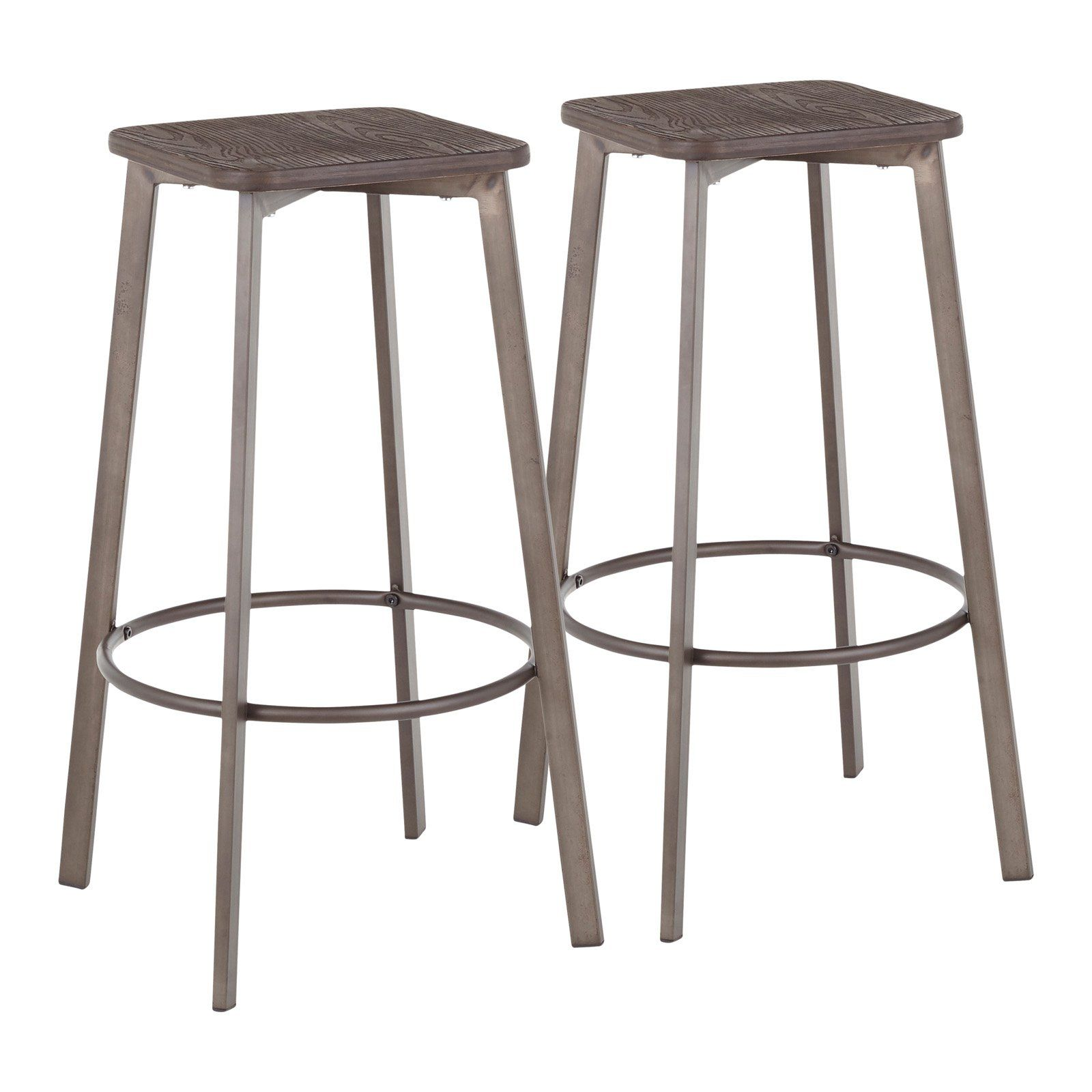 Lumisource Clara 30 In Square Backless Bar Stool Set Of 2