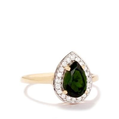Chrome Diopside & White Zircon 9K Gold Ring ATGW 1.53cts