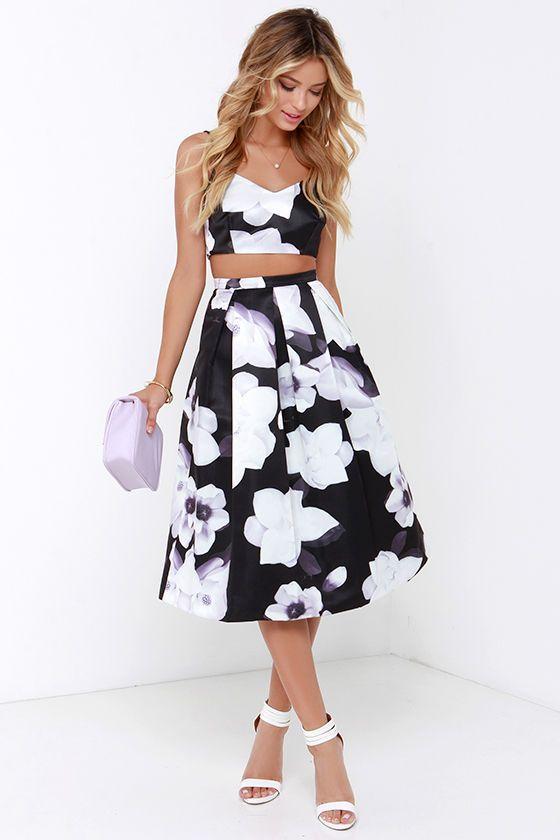 Black and white print cocktail dresses