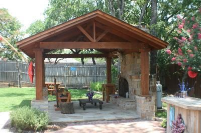 Free Standing Covered Patio With Outdoor Fireplace Backyard