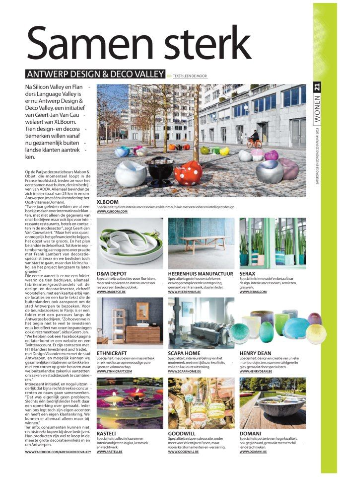 Article about Antwerp Design & Deco Vally in the Citta magazine - 2013 issue