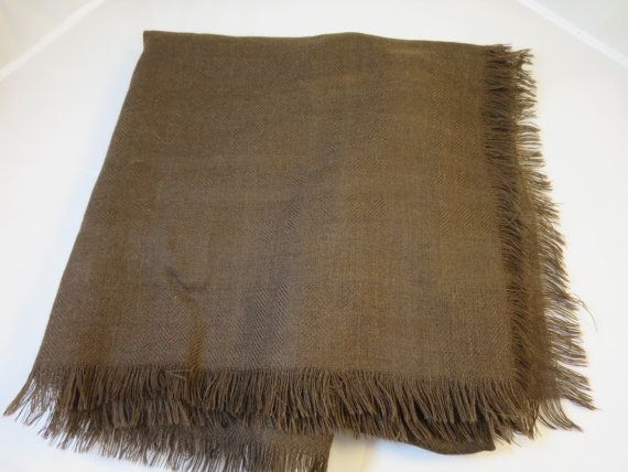 Vintage Brown Wool Shawl Wrap Fringed 56 in. Square Large Loom Woven Shawl Warm Wrap Wool Stole 100% Wool Made in Italy