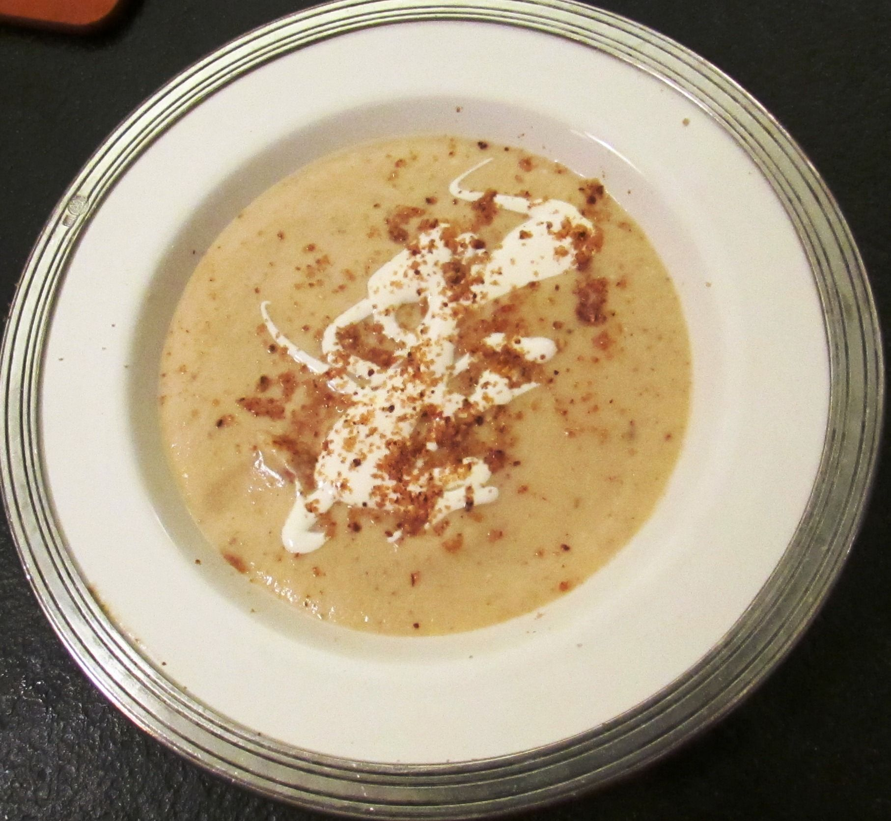 Cream of Cauliflower soup with bitter almonds - served for a holiday meal and it was great!