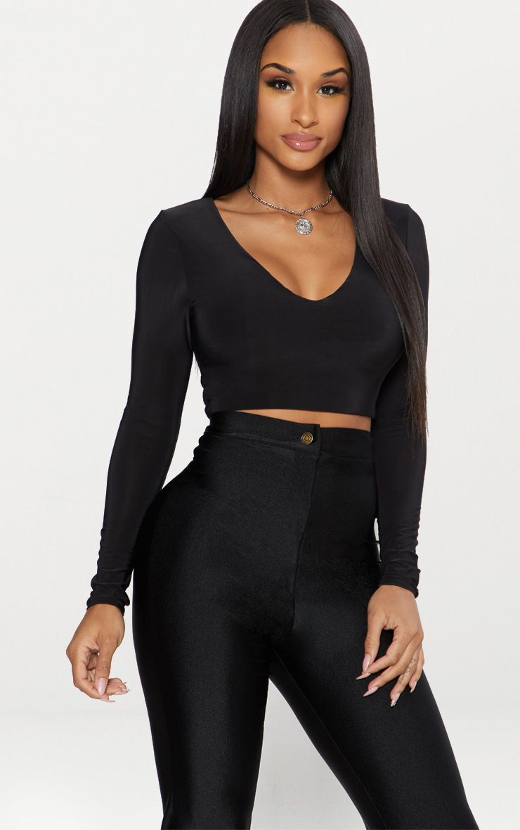 3bda723b43b528 Black Second Skin Long Sleeve V Neck Crop Top . Shop the range of curve  today at PrettyLittleThing. Express delivery available. Order now