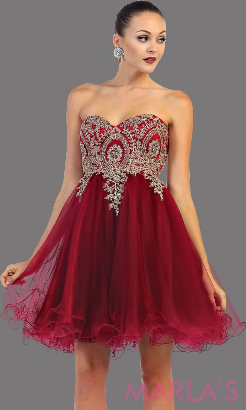 c8808730e5f Short strapless puffy burgundy dress with a corset back. This is a perfect grade  8 grad dress