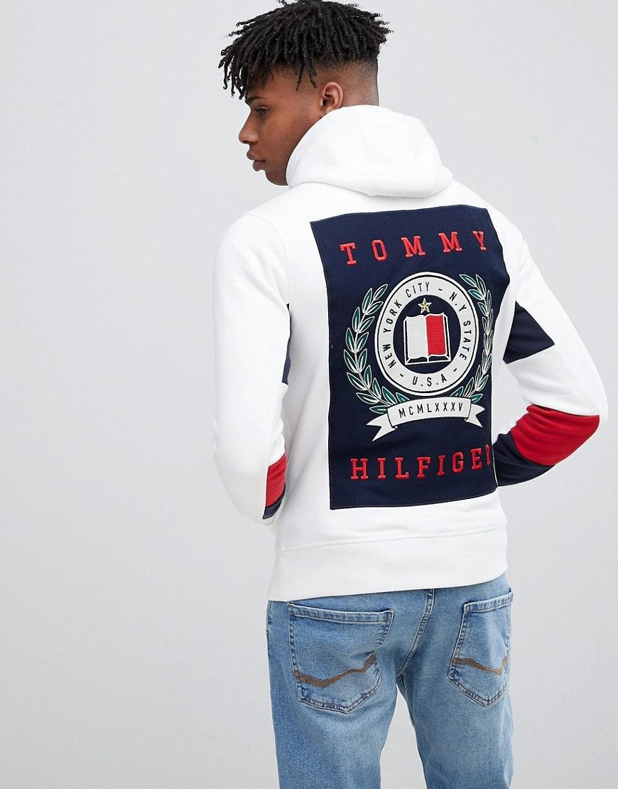 Back Logo Print And Icon Sleeve Detail Full Zip Hoodie In