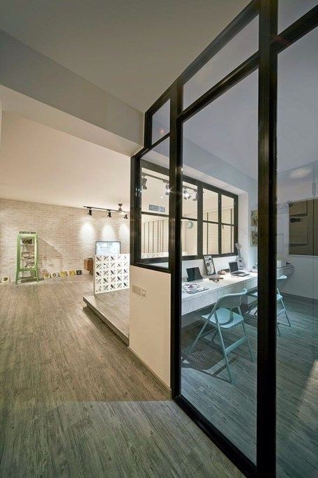 Study Room Glass: Amazing Glass Partition For Your Living Room 09