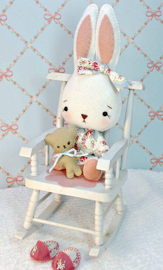 Bunny Softie Stuffed Rabbit White Wool Felt Gingermelon Design ...