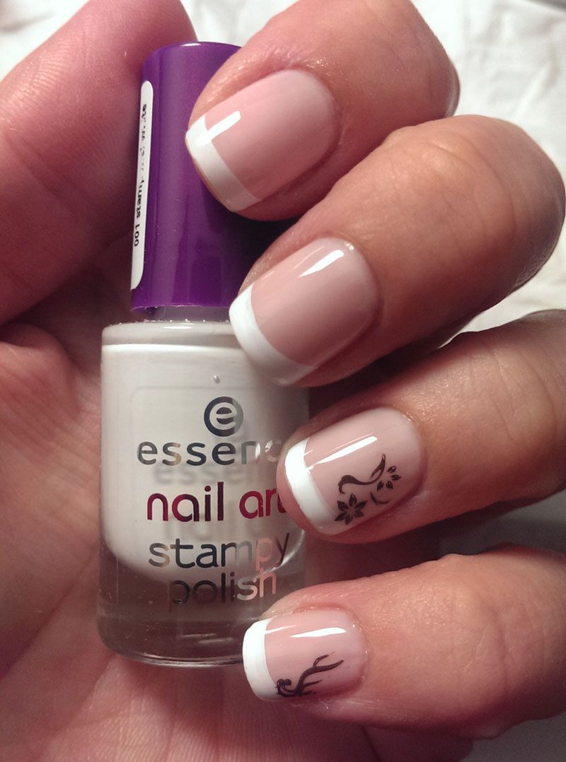 French Manicure with Konad.  This is so not easy to do. I know I'm new at stamping, but in the YouTube vids I saw, it seemed so easy. ...
