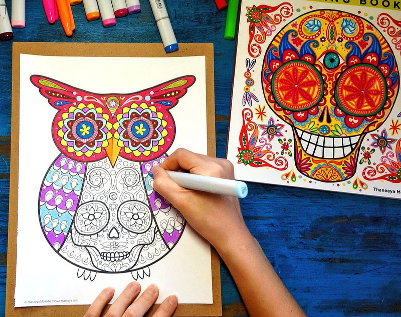 Owl Sugar Skull Coloring Page From Thaneeya McArdles Day Of The Dead Book