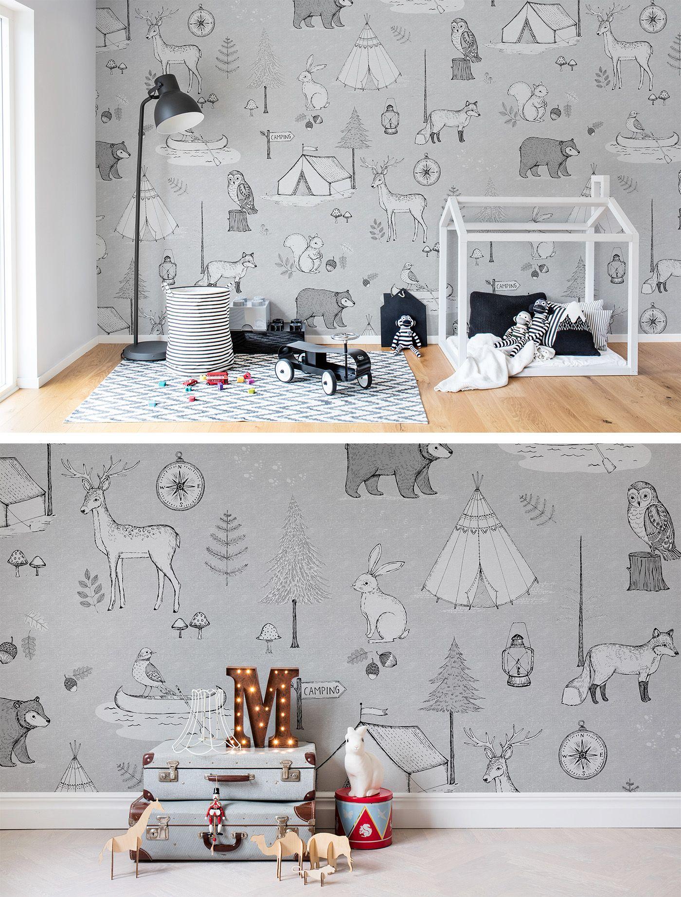 Kinderzimmer wandfarbe camping trip grey  tapeten fürus kinderzimmer  pinterest