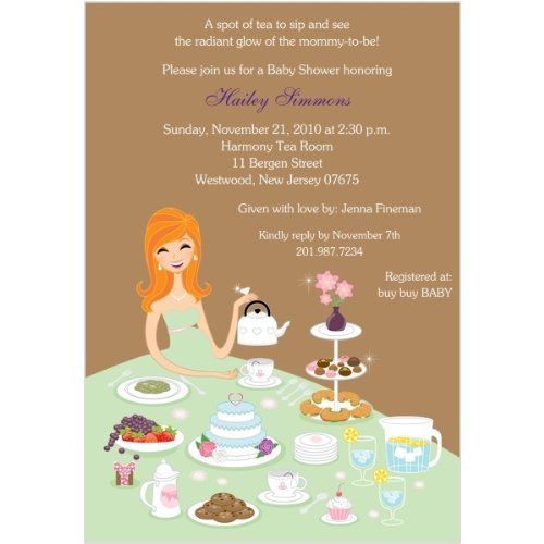 Tea party baby shower invitation tea time for two pinterest baby shower invitations tea for two features a radiant mommy to be cleverly using her dress to serve afternoon tea to her guests filmwisefo