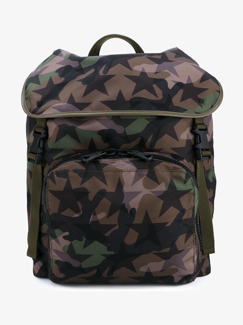 VALENTINO Valentino Garavani 'Camustars' Backpack. #valentino #bags #leather #nylon #backpacks #cotton #