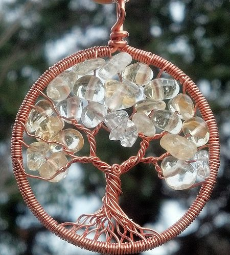 Copper and Citrine Tree Pendant