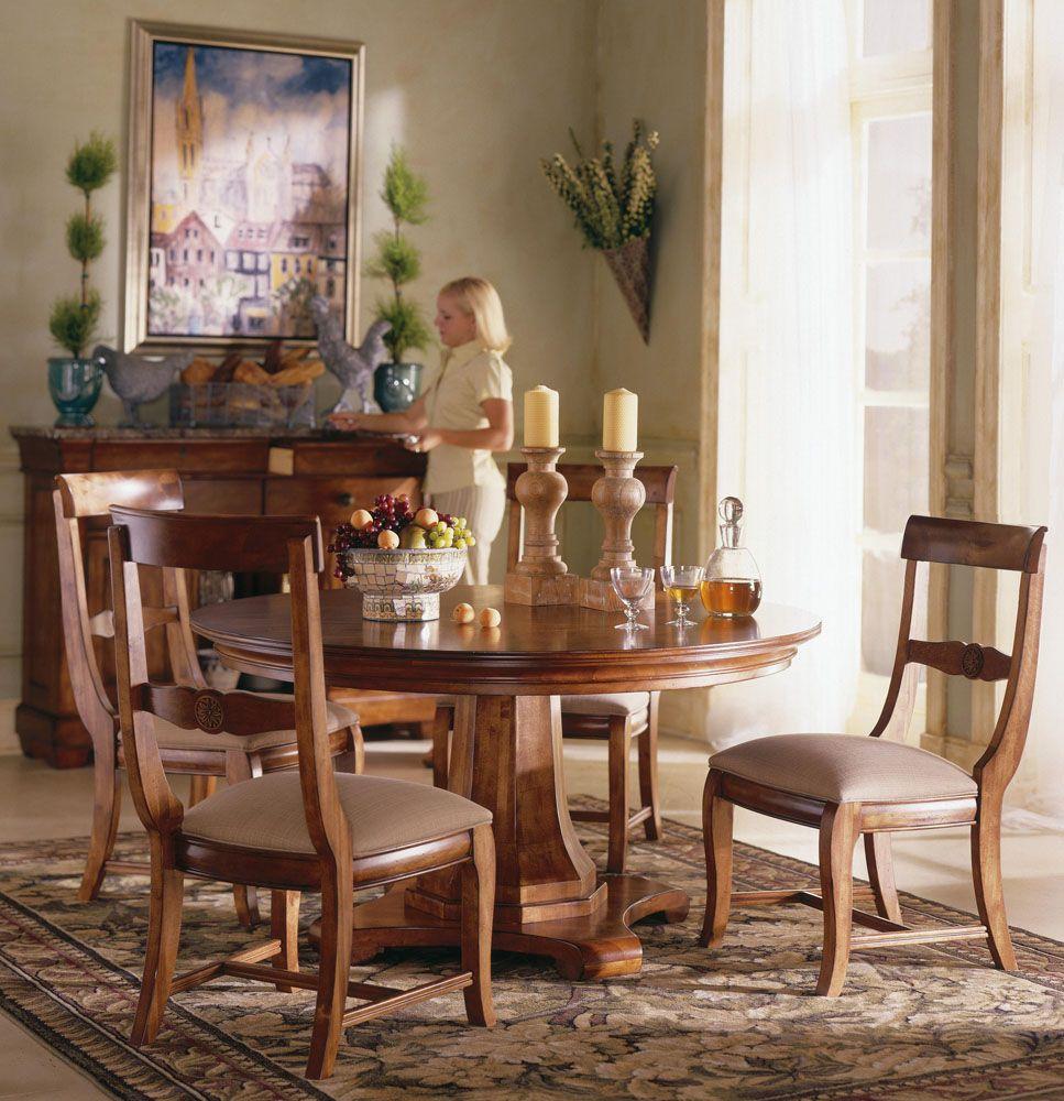 Kincaid Tuscano Solid Wood Round Pedestal Table Dining Set Round Pedestal Dining Table Furniture Dining Table