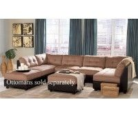 Sectional Sofa With Button Tufted Design Brown Microfiber For The