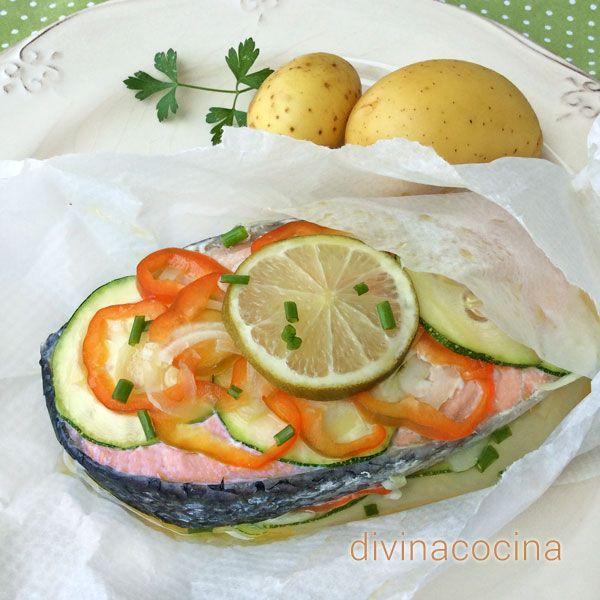 Receta de papillote de pescado comidas pinterest microondas ligeros y tradicional - Cocinar pescado en microondas ...