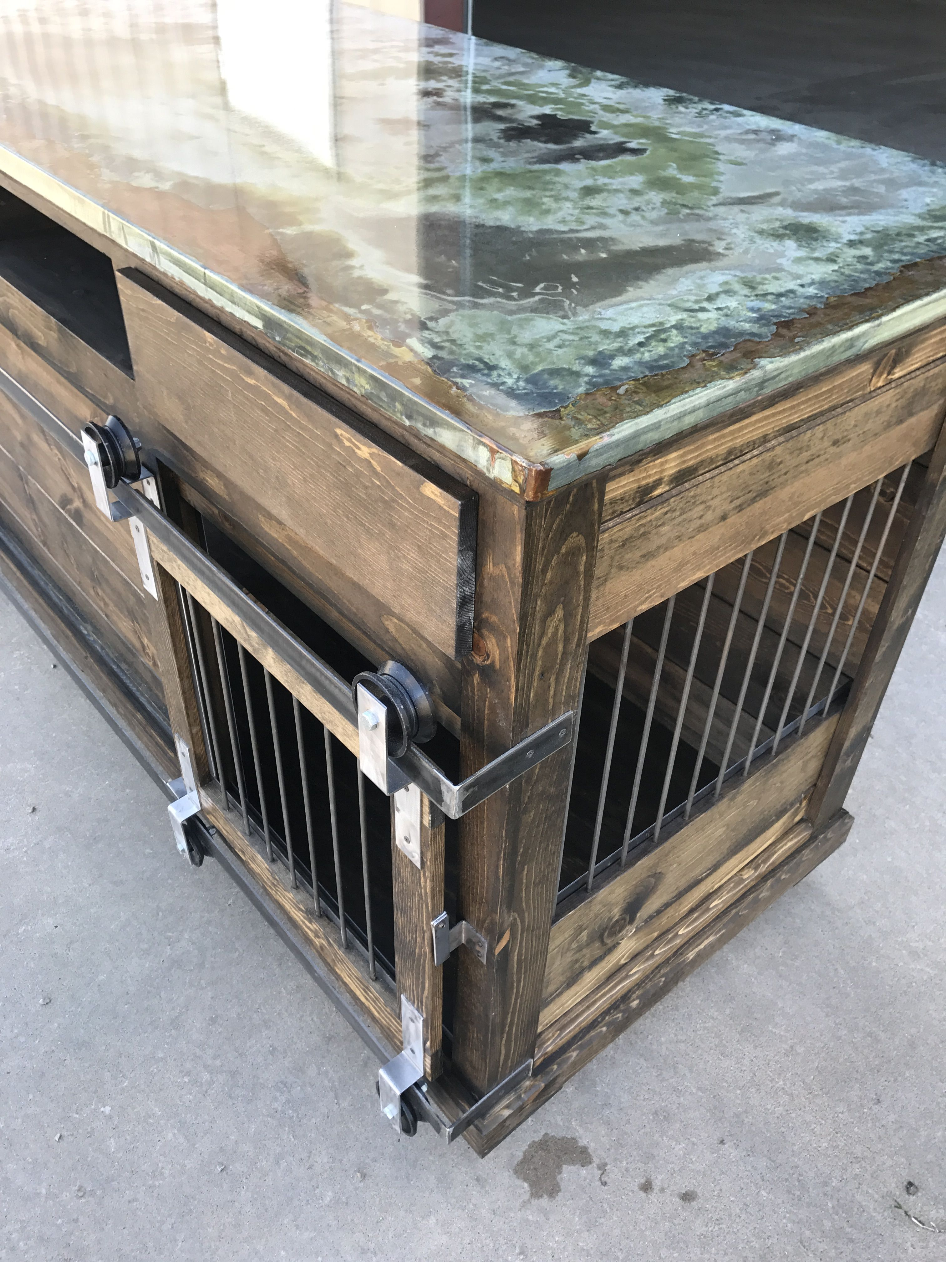Indoor Dog Kennel With A Whole Lot Of Bling Barn Door Drawers