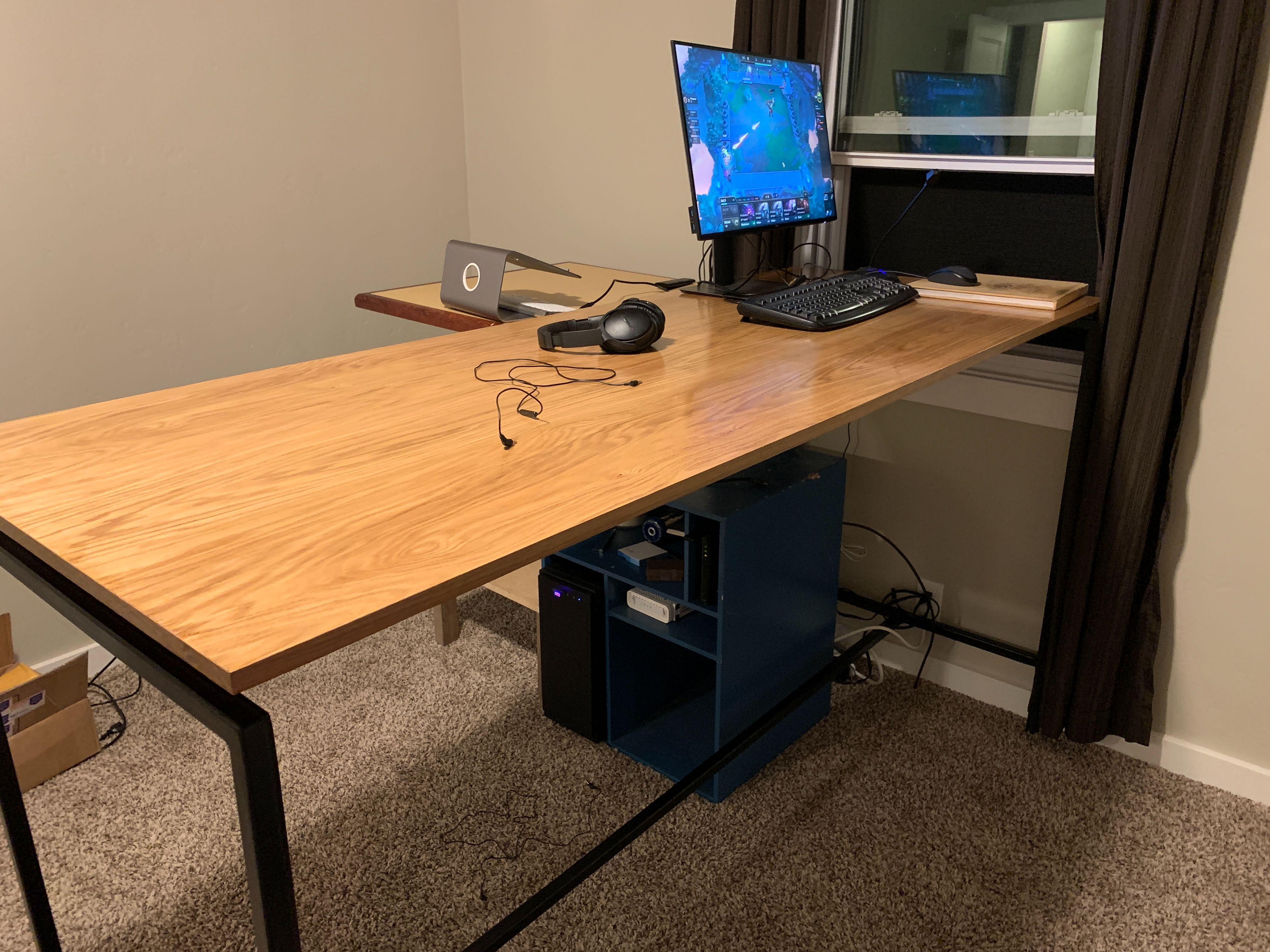 Standing Desk Welded Steel Tubing Frame With Smooth Plywood Top Handmade Crafts Howto Diy In 2020 Plywood Desk Home Upgrades Standing Desk
