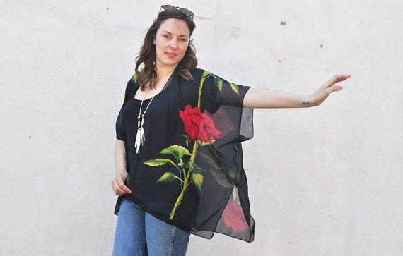 180dc307f4 Sheer Kimono: Black and Red Rose print Sheer Kimono Bathing Suit Cover  Up(HalinaShearmanDesign)
