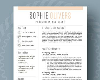 Stylish And Modern Resume Template  Cv Template  Cover Letter