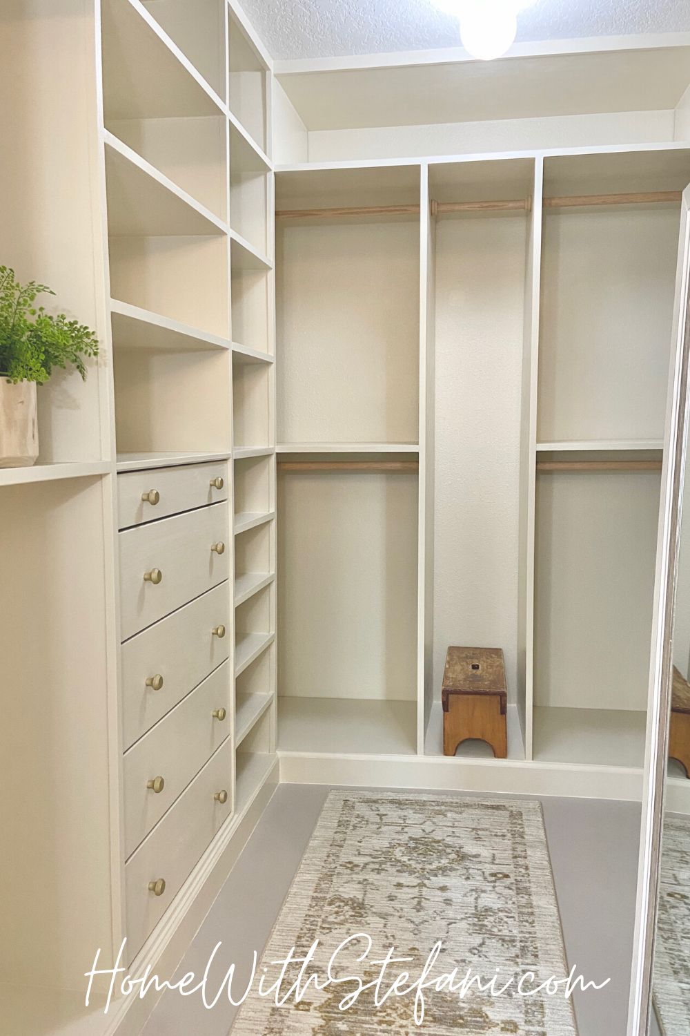 I gave our walk in closet a complete makeover on a budget with the help of an Ikea hack! #IkeaCloset #DIYCloset #DreamCloset #ClosetMakeover #DIYIkeaCloset