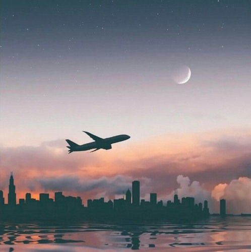 Airplane City And Moon Image