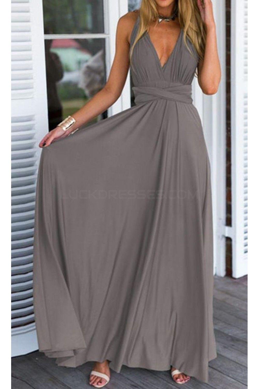 Long Grey V-Neck Chiffon Prom Formal Evening Party Dresses ...