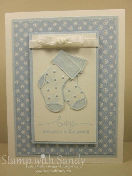 Stocking Punch Baby Booties Blue by Sandy Mathis