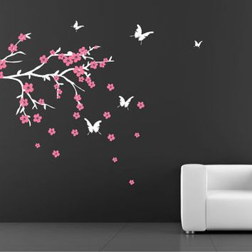 Best Cherry Blossom Wall Decor Products On Wanelo Wall - Wall decals butterfliespatterned butterfly wall decal vinyl butterfly wall decor