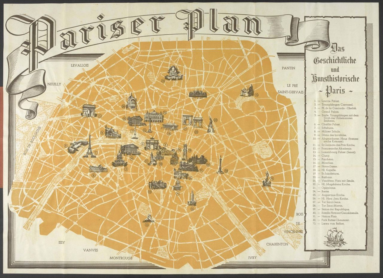 A tourist map of occupied Paris issued to German soldiers ...