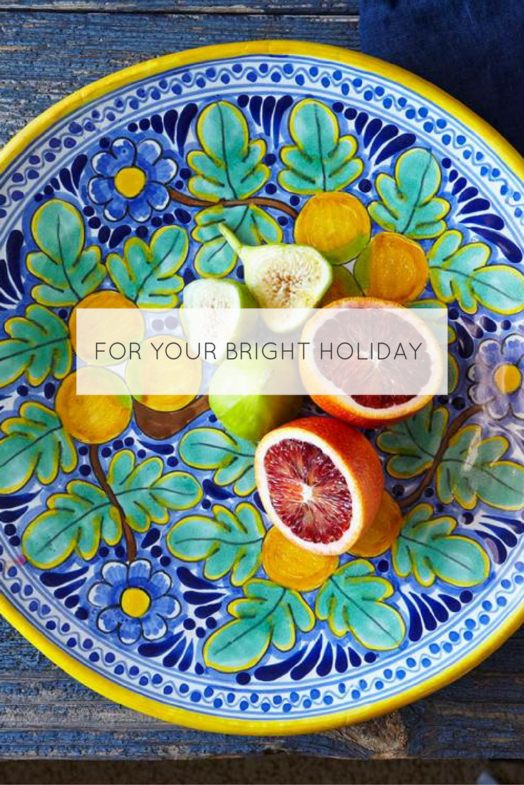 For holiday gifting, this artisan original, handcrafted Talavera platter is ideal; it reminds us of Italian pottery and ceramics!  https://rusticagift.com/collections/naranja-talavera