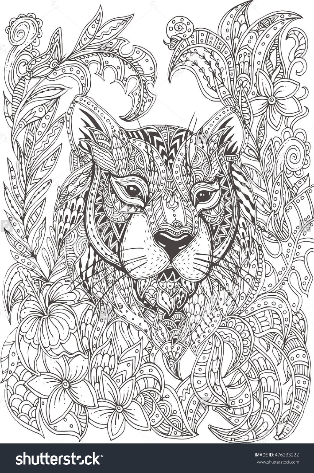 Hand-drawn tiger with ethnic floral doodle pattern. Coloring page ...