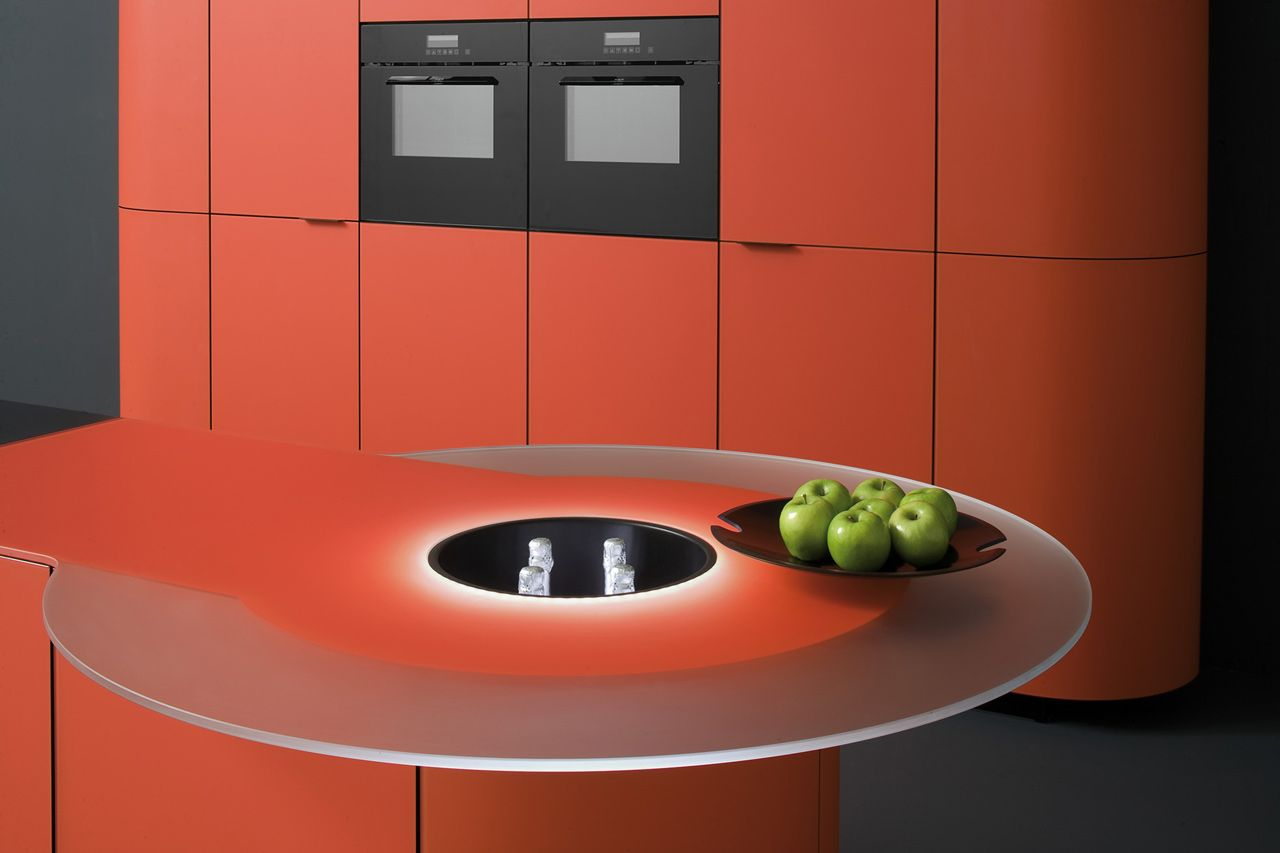 Mobili Argento ~ Tangerine kitchen ged cuisine argento vivo ~ coral salmon kitchen