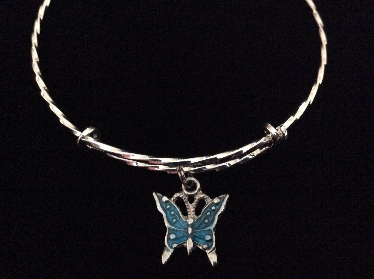 Blue Butterfly Twisted Silver Expandable Charm Bracelet Adjustable Wire Bangle Basket Gift