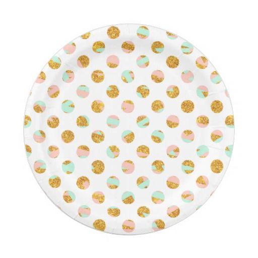 Modern Girly Pink Teal Gold Glitter Polka Dots Paper Plate   Gold ... Modern Girly Pink Teal Gold Glitter Polka Dots Paper Plate Gold  sc 1 st  Best Image Engine & Astounding Gold Polka Dot Paper Plates Images - Best Image Engine ...