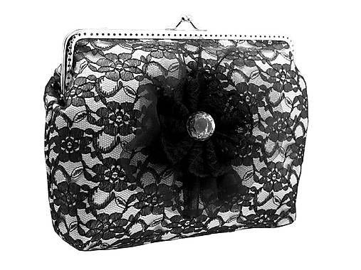 Gothic_Burlesque / Saténová  dámská kabelka s čipkou  04561