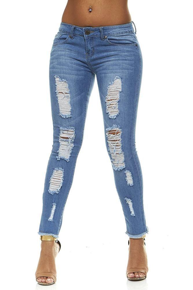 46fcf6f258e VIP Ripped Distressed or Destroyed Frayed Hem Skinny Slim Fit Stretch Jeans  #VIPJEANS #SlimSkinny