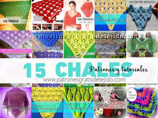 15 tutoriales y patrones de chales y mantones triangulares para ...