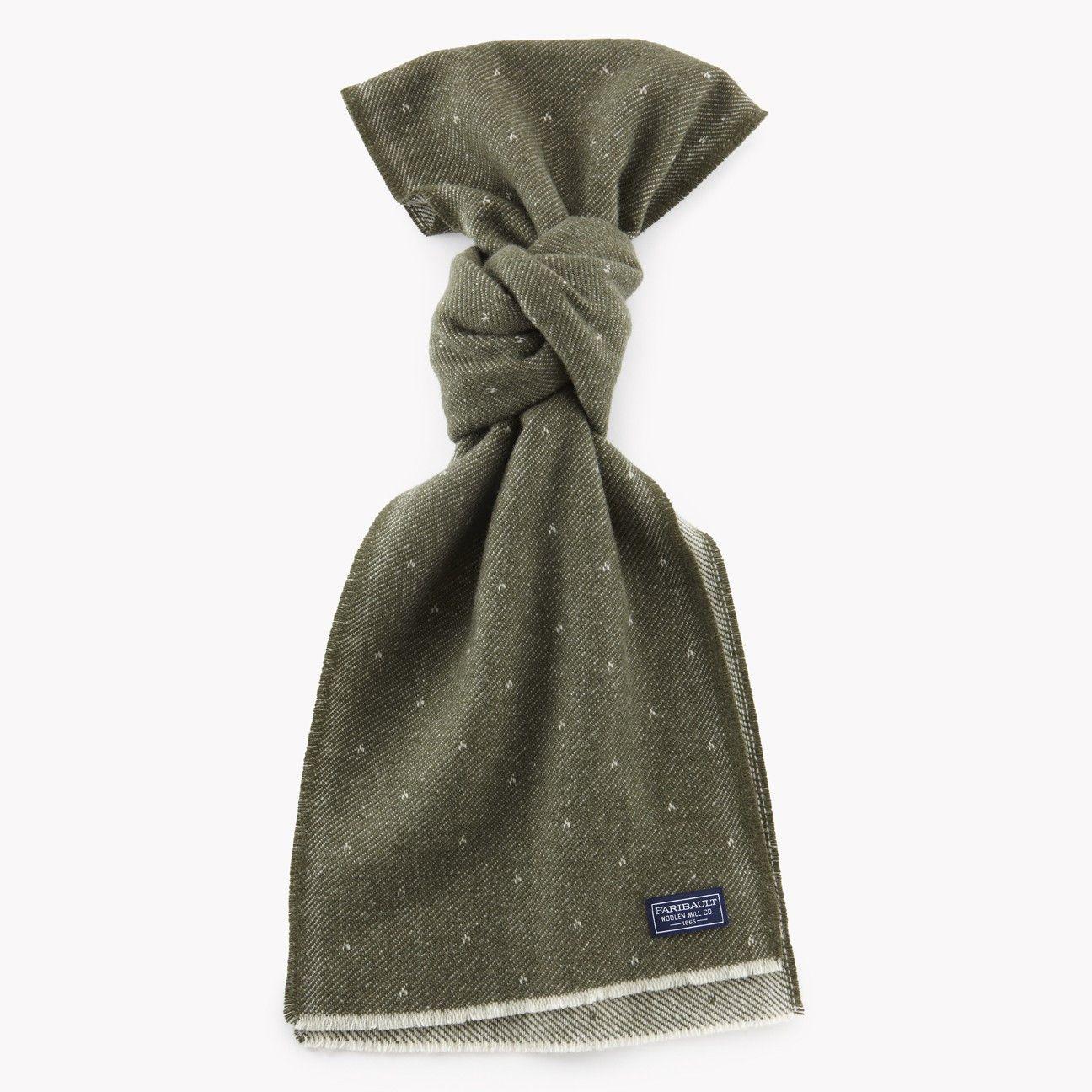 Faribault Mills Wool Dot Scarf in Olive Wool scarf