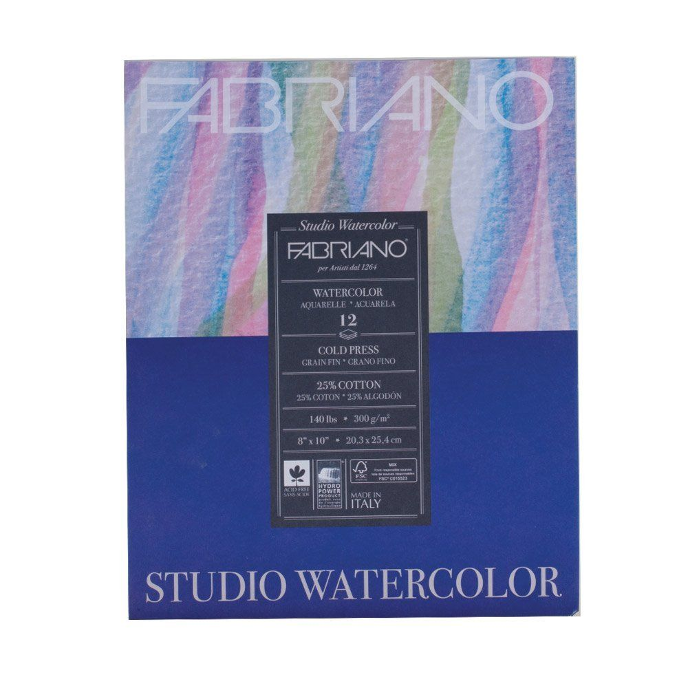 Amazon Com Fabriano Studio Watercolor Paper 140 Lb Cold Press 12