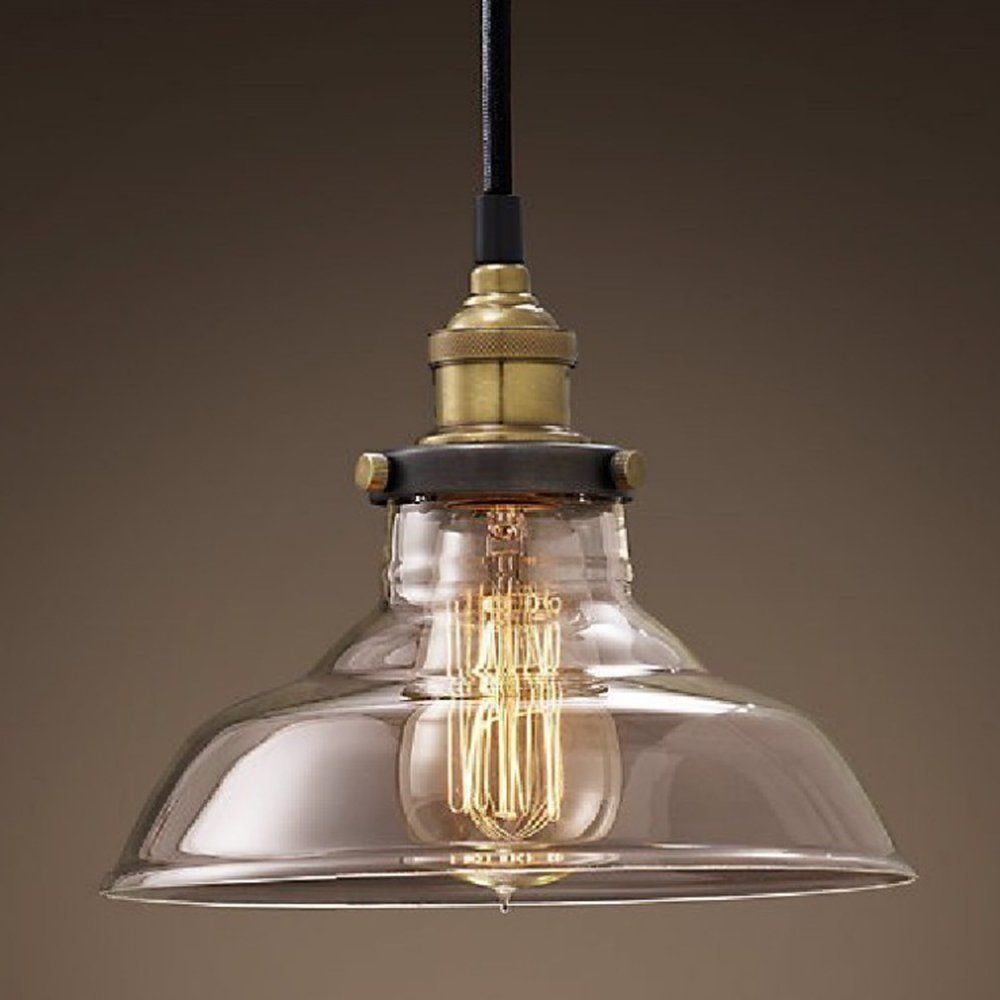 Clear Glass Industrial Hanging Pendant Light Shade(Bulbs