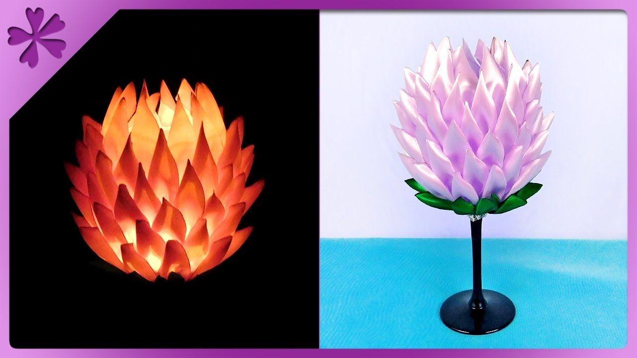 Diy Jak Zrobic Swiecznik Kanzashi Z Kieliszka Na Szybko 396 Diy Kanzashi Candle Ribbon Paper Flowers