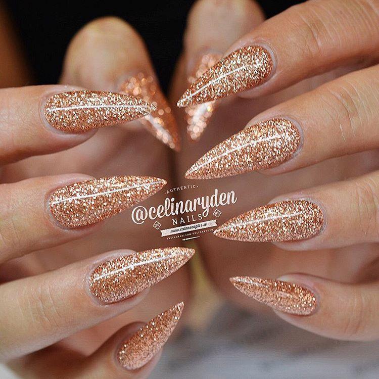 Glittery Rose Gold Stiletto Nails