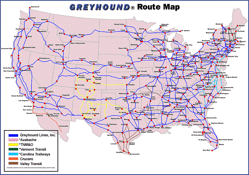 Greyhound Bus. in 2019   Bus route map, Bus map, Bus route