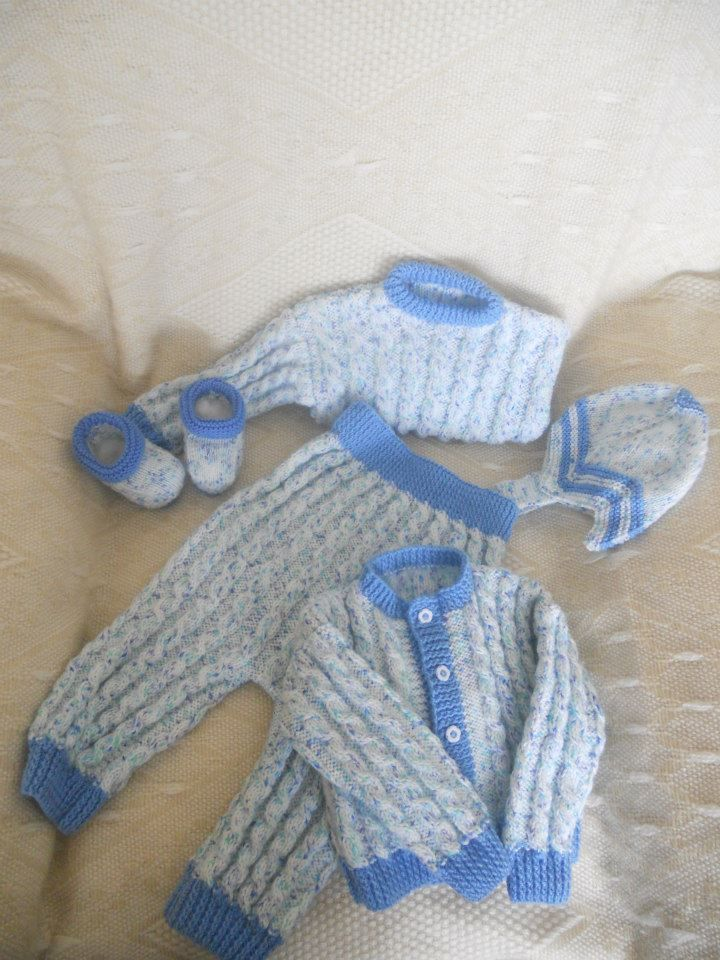 Hand Knitted Baby Boy Autumn or Winter Set:  Cardigan, Jumper, (sweater) Elasticated waist Pants, (Trouser) Hat & Booties.