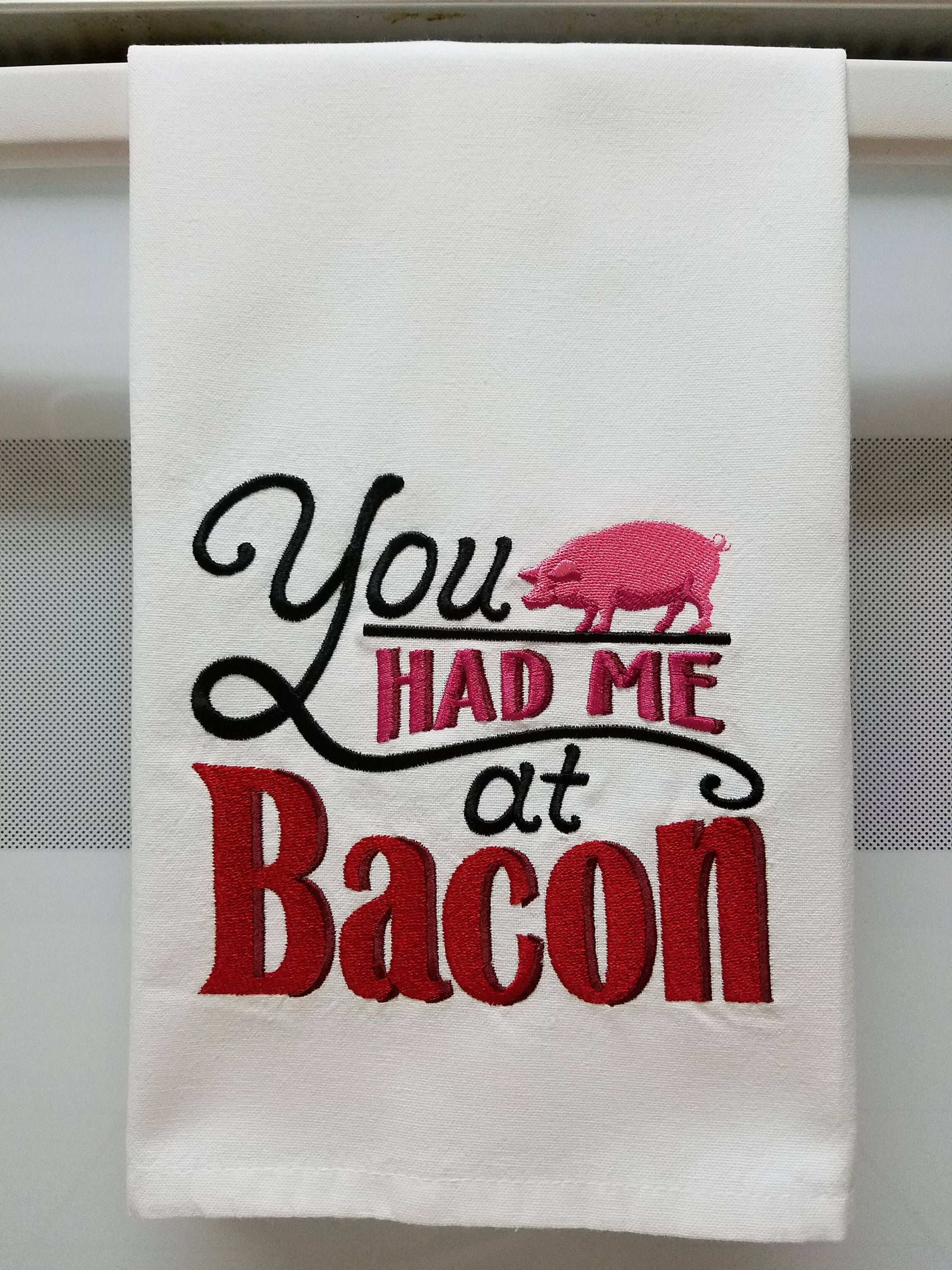 Bacon/Embroidered Bacon/Embroidered Pig Kitchen/Tea Towel by ...