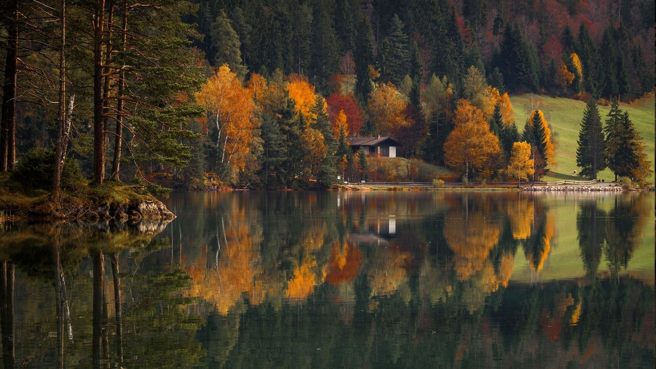 Nature Landscape Lake House Cabin Mountain Forest Fall Water Reflection Grass Trees Wallpaper Lake Landscape Forest Falls Lake House